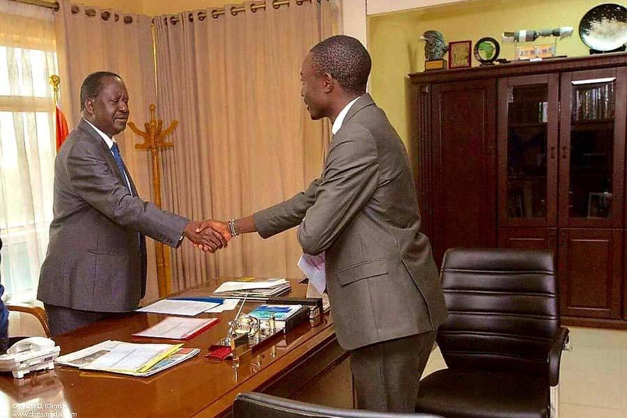 Duke Mainga Echate and ODM Party Leader Raila Odinga