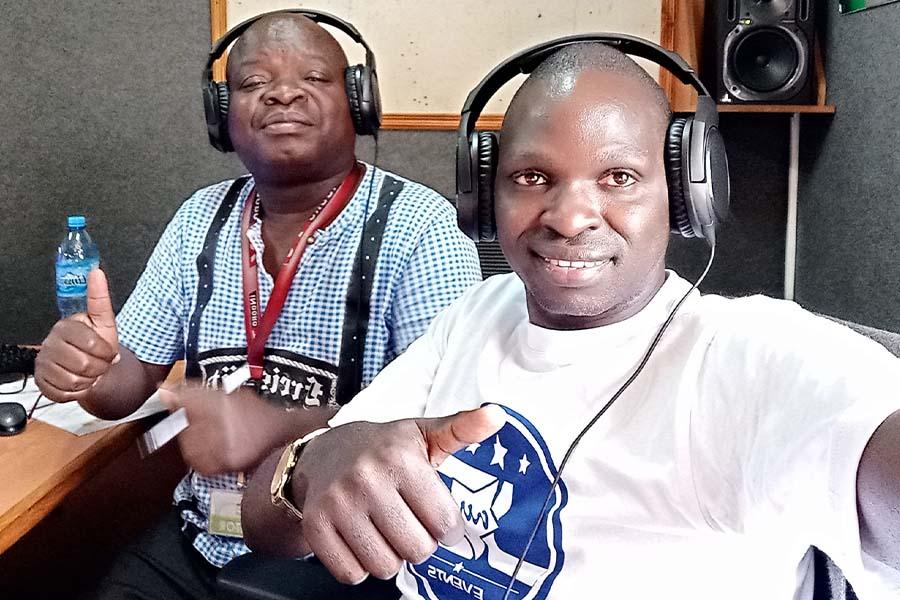 Omoiberania James Gichana with Mr Ongengo Dan Mosima in Egesa FM Studio