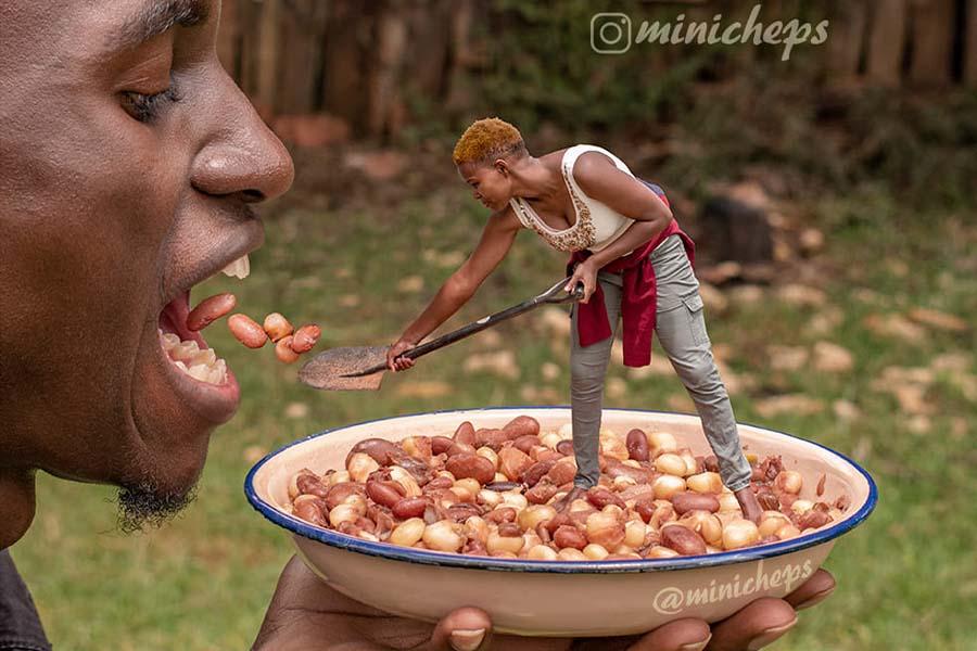 Artist Minicheps feeding githeri to her better half
