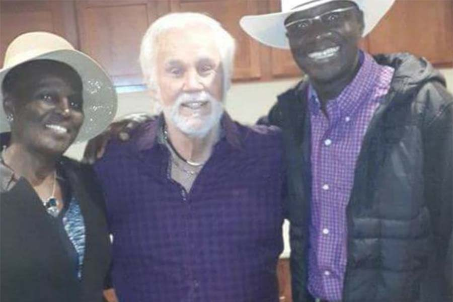 Country musician Ken Rodgers, Uncle Fred Obachi Machoka, and wife Sophia