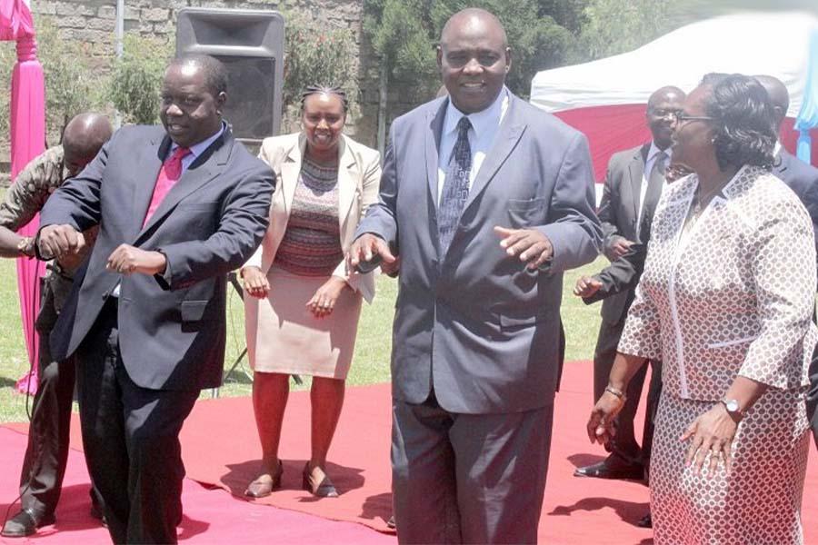 Nyamira governor aspirant Walter Nyambati Osebe dacing with CS Fred Matiangi