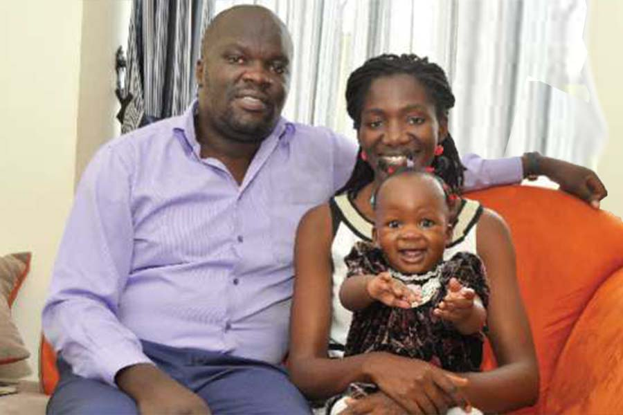 Founder and CEO of Kahawa Tungu Robert Alai wife Beverly Madowo, and daughter Yucabeth