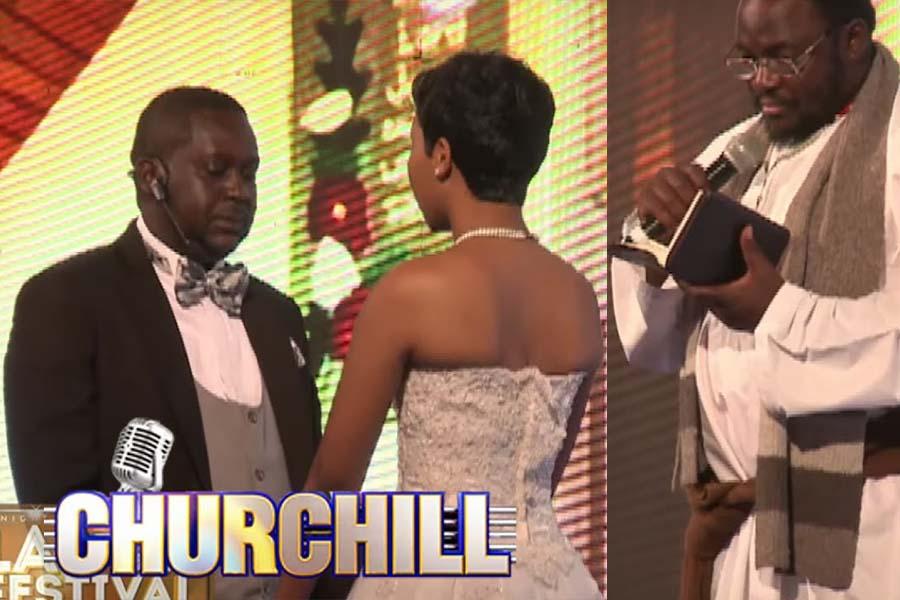 Mwalimu Kingangi alias Ndambuki wedding Serah Ndanu on Churchill Show