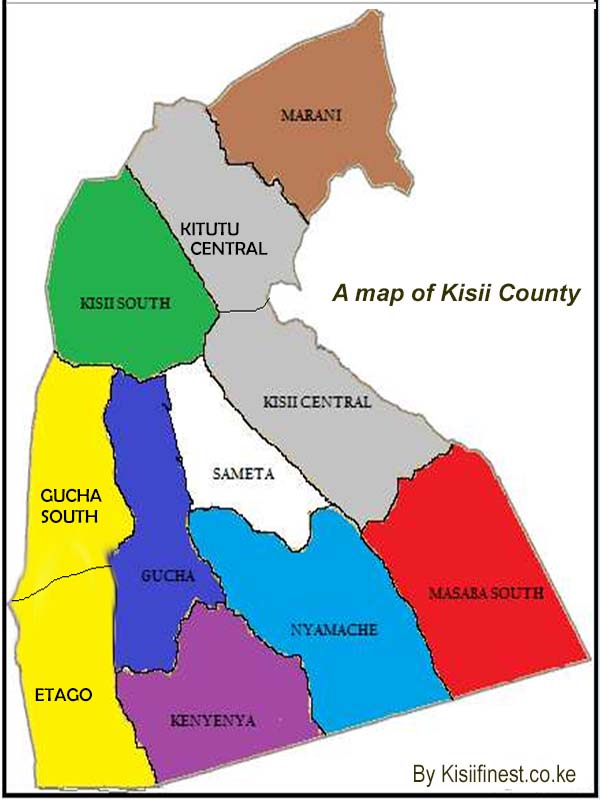 Latest map of all Kisii County sub counties and their new administrative boundaries