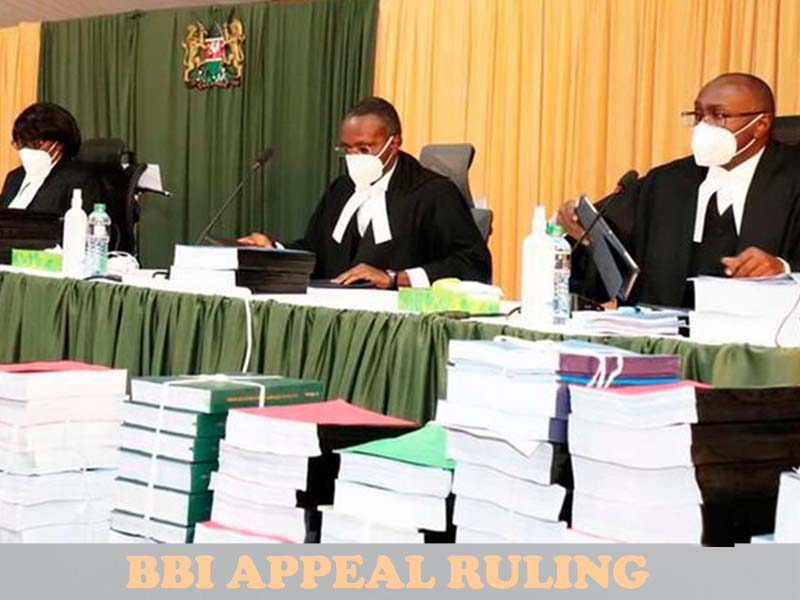The decisive BBI appeal ruling today by a seven judge bench of the Court of Appeal, judgement summary
