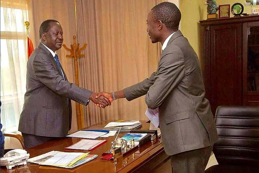 Duke Mainga Ondiba Echate with ODM leader Raila Odinga